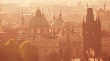 Prague Cityscape on Misty Morning, Retro Toned — Stock Video