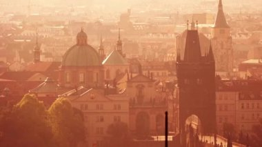 Beautiful Panoramic View of Prague Cityscape with Distinctive Architecture Landmarks on Misty Morning — Stock Video