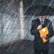 Insurance Agent with Umbrella in Urban Setting — Stock Photo #79980470