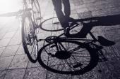 Man Pushing Bicycle, Street Shadow — Stock Photo
