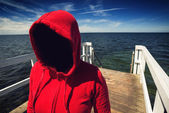 Faceless Hooded Unrecognizable Woman at Ocean Pier, Abduction Co — Stock Photo
