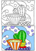 Children coloring illustration — Stock Vector