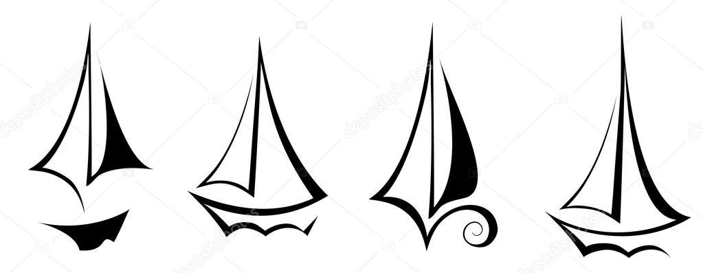 矢量帆船游艇船运输图标黑白色背景上孤立的平面设计