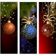 Christmas website banner set decorated with Xmas tree, jingle bell, snowflakes and lights — Stock Vector #59392587