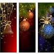 Christmas website banner set decorated with Xmas tree, jingle bell, snowflakes and lights — Stock Vector #59393325
