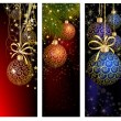 Christmas website banner set decorated with Xmas tree, jingle bell, snowflakes and lights — Stock Vector #59394161