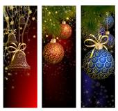 Christmas website banner set decorated with Xmas tree, jingle bell, snowflakes and lights — 图库矢量图片