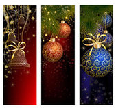 Christmas website banner set decorated with Xmas tree, jingle bell, snowflakes and lights — Wektor stockowy