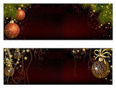 Christmas website banner set decorated with Xmas tree, jingle bell, snowflakes and lights — Stock Vector