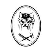 Pet grooming logo s Yorkshire teriér pes, kartáč na vlasy a nůžky, psí podepsat pro pet salon nebo obchod ikony — Stock vektor