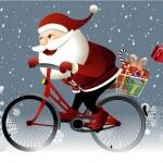Постер, плакат: Santa Claus riding a bike