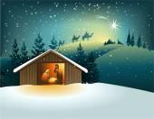 Julen julkrubba med heliga familjen — Stockvektor