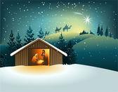 Christmas nativity scene with holy family — Stok Vektör