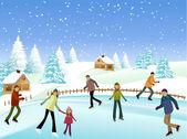 Winter skaters — Stock Vector