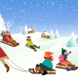 Children on a sled — Stockvector  #59514627