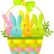 Easter basket with bunnies — Stock Vector #67581547