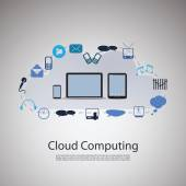 Cloud Computing Concept with Laptop Computer, Tablet and Smart Phone — Stock Vector