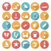 Colorful Flat Icon Designs - Summer Holiday — Vetorial Stock