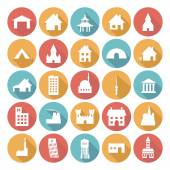 Colorful Flat Icon Designs - Buildings — Stock Vector