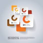 Infographic Design - Round Square Labels with Diagrams — Stock Vector
