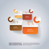 Infographic Design - Round Square Design with Diagrams — Stock Vector