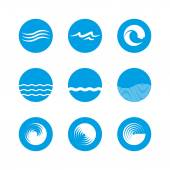 Waves Icon Set - Ocean, Sea, Beach — Stock Vector