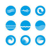 Waves Icon Set - Ocean, Sea, Beach — Vetorial Stock