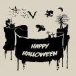Abstract Halloween Background - Various Spooky Creatures in the Dark — Wektor stockowy