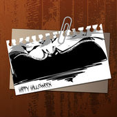 Vector Halloween Label Concept on Wooden Surface — Stock Vector
