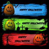 Set of Dark Colorful Halloween Headers or Banners with Smiling Pumpkin — Stock Vector