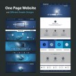 One Page Website Template and Different Header Designs - Internet Concept, Mobile Communication, Worldwide Connections, Global Networking — Stock Vector #55081699