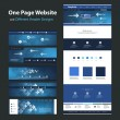 One Page Website Design Template and Different Header Designs - Internet, Worldwide Connections, Global Networking — Stock Vector #55081703