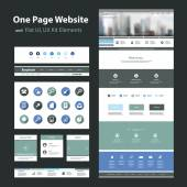 One Page Website Design Template and Flat UI, UX Elements — Vetorial Stock