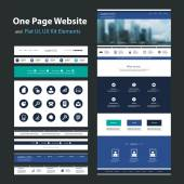 One Page Website Design Template and Flat UI, UX Elements — Stock Vector