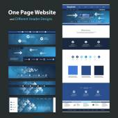 One Page Website Design Template and Different Header Designs - Internet, Worldwide Connections, Global Networking — Stock Vector