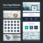 One Page Website Design Template and Flat UI, UX Elements — Stockvector