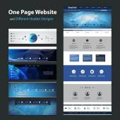 Global Network Connection - One Page Website Template and Collection of Different Header Designs — Stockvektor