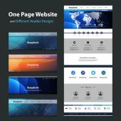 One Page Website Template and Different Header Designs — Stockvektor
