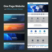 One Page Website Template and Different Header Designs — Stock Vector