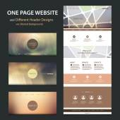 One Page Website Template and Collection of Different Header Designs with Blurred Backgrounds — Stockvektor