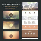 One Page Website Template and Collection of Different Header Designs with Blurred Backgrounds — Stock Vector