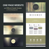 One Page Website Template and Different Header Designs with Blurred Backgrounds — Vetorial Stock