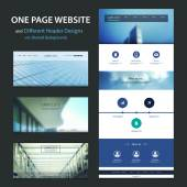 One Page Website Template and Different Header Designs with Blurred Background — Stockvector