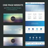 One Page Website Template and Different Header Designs with Blurred Backgrounds — Stock Vector