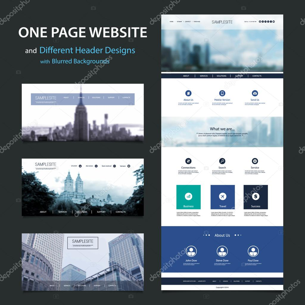 download one page website template and different header designs with