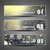 Colorful Bubbly Vector Set of Three Header Designs — Stock Vector