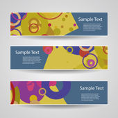 Colorful Vector Set of Three Header Designs with Dots, Circles, Rings — Vetorial Stock
