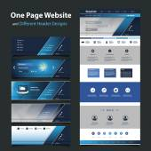 Website Template for Your Business with Six Different Header Designs — Stockvektor