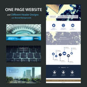 Blue One Page Website Template and Different Header Designs with Blurred Effect — Vector de stock