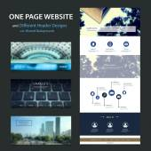 Blue One Page Website Template and Different Header Designs with Blurred Effect — Stock Vector